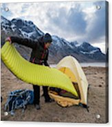 Female Hiker Sets Up Tent On Wild Acrylic Print