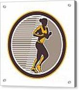 Female Marathon Runner Side View Retro Acrylic Print by Aloysius Patrimonio