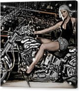 Female Model With A Motorcycle Acrylic Print