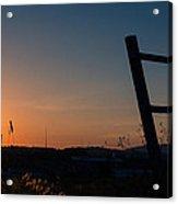 Fence At Sunset II Acrylic Print