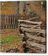Fence In Autumn Acrylic Print
