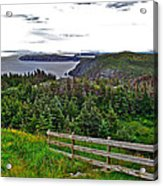 Fence In Fields At Long Point In Twillingate-nl Acrylic Print