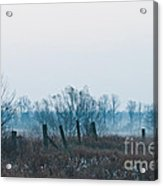 Fence In The Fog Acrylic Print