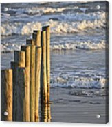 Fence Posts Into The Sea Acrylic Print