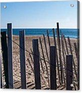 Fence Sand And Ocean Acrylic Print