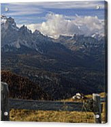 Fence With A Mountain Range Acrylic Print