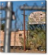 Fenced In  Abandoned 1950's Motel Trailer Acrylic Print
