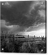 Fenced In - Western Oklahoma Scene In Black And White Acrylic Print