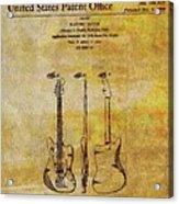 Fender Guitar Patent On Canvas Acrylic Print