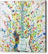 Fender Stratocaster - Watercolor Portrait Acrylic Print