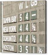 Fenway Park Al East Scoreboard Standings Acrylic Print