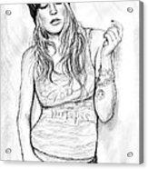 Fergie Art Drawing Sketch Portrait Acrylic Print