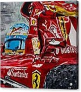 Fernando Alonso And Ferrari F10 Acrylic Print