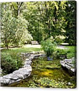 Fernwood Botanical Garden Frog Pond With Bench Niles Michigan Us Acrylic Print