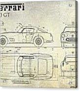 Ferrari 250 Gt Blueprint Antique Acrylic Print