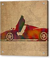 Ferrari Enzo 2004 Classic Car Watercolor On Worn Distressed Canvas Acrylic Print
