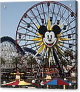 Ferris Wheel And Roller Coaster - Paradise Pier - Disney California Adventure - Anaheim California - Acrylic Print by Wingsdomain Art and Photography