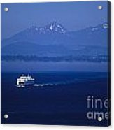 Ferry Boat In Puget Sound With Olympic Mountains Acrylic Print