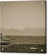 Ferry In Rough Water Heading Toward The Olympics Acrylic Print