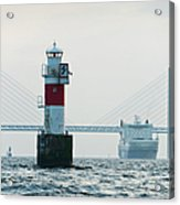 Ferry On Sea, Oresund Bridge In Acrylic Print