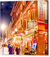 Festive Streets Of Old Quebec Acrylic Print by Mark Tisdale