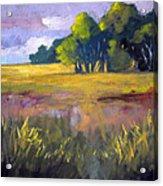 Field Grass Landscape Painting Acrylic Print