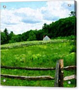 Field Near Weathered Barn Acrylic Print