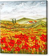Field Of Dreams - Poppy Field Paintings Acrylic Print