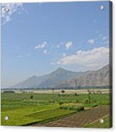 Fields Mountains Sky And A River Swat Valley Pakistan Acrylic Print