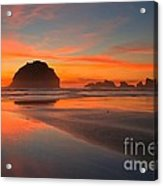 Fiery Bandon Beach Acrylic Print by Adam Jewell