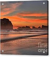 Fiery Ripples In The Surf Acrylic Print