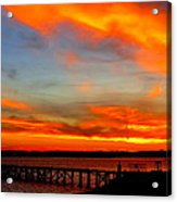 Fiery Skies And Silhouetted Pier Acrylic Print by Stephen Melcher