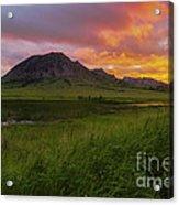 Fiery Sky Over Bear Butte Acrylic Print
