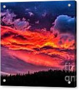 Fiery Sunrise At Glacier National Park Acrylic Print