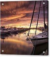 Fiery Sunset At Stuart Marina Acrylic Print