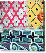 Fiesta 6- Colorful Pattern Painting Acrylic Print by Linda Woods