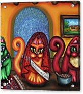 Fiesta Cats Or Gatos De Santa Fe Acrylic Print