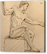 Figure On A Rock Acrylic Print