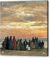 Figures On The Beach In Trouville Acrylic Print