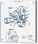 Film Camera Patent Drawing From 1938 - Blue Ink Acrylic Print