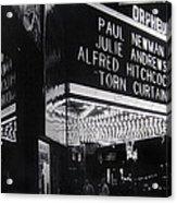 Film Homage Alfred Hitchcock Torn Curtain 1966 Orpheum Theater St. Paul Minnesota 1966 Acrylic Print