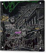 Film Noir Lee Marvin Sylvia Sidney Violent Saturday 1956  C.1885 Bisbee Az Drawing Color Added 2008 Acrylic Print