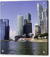 Financial District Of Singapore And View Of The Water Acrylic Print