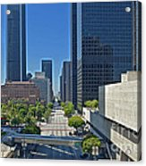 Financial District S. Flower Street Los Angeles Ca Acrylic Print by David Zanzinger