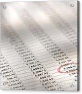 Financial Spreadsheet Acrylic Print