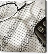 Financial Spreadsheet With Calculator And Glasses Acrylic Print