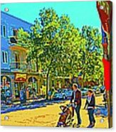 Fine Day For Baby Strollers And Bikes Art Of Montreal Street Scene Across Maitre Gourmet Cafe Acrylic Print