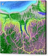 Finger Lakes Map Art Acrylic Print by Paul Hein