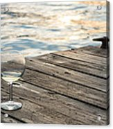 Finger Lakes Wine Tasting - Wine Glass On The Dock Acrylic Print