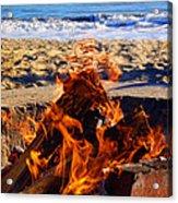 Fire At The Beach Acrylic Print